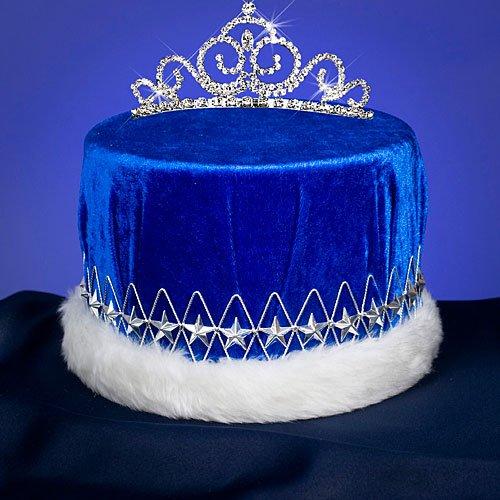 Blue and Silver Velvet Serenade Royalty Crown Combo King Queen Royalty Crown Tiara Set]()