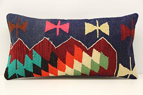 Handmade kilim pillow cover 12x24 inch (30x60 cm) Turkish Lumbar Kilim pillow cover Home Decor Anatolian Pillow cover Kilim Cushion Cover (Anatolian Striped Kilim Rug Cushion)