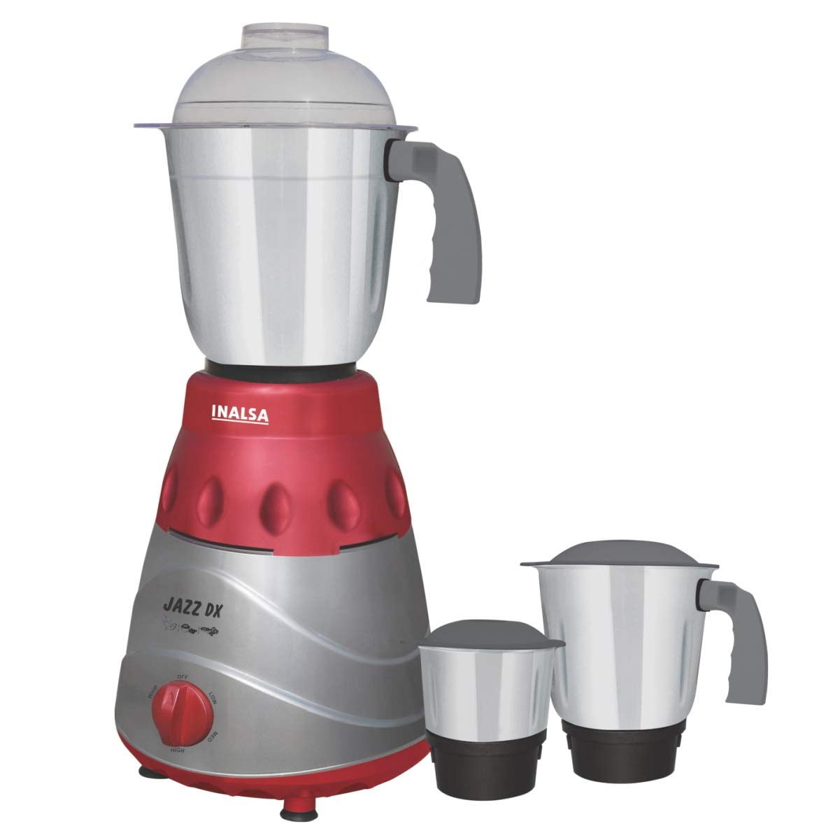 Inalsa Jazz Dx 750-Watt Mixer Grinder with 3 Jars (Grey/Maroon)