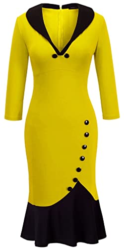 Homeyee Women's V neck Ball Fishtail Pencil Dress UB27