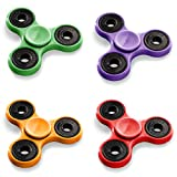 Fidget Spinner - Hand Spinner - 4 Figets Spinners - Assorted Colors - Tri Spinner by Funny Party Hats