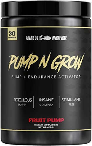 Pump-N-Grow Muscle Pump and Nitric Oxide Boosting Supplement by Anabolic Warfare * – Caffeine Free Pre Workout with L-Citrulline, L-Arginine, Beta-Alanine Fruit Pump 30 Servings