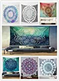 Singyico Indian Elephant Tapestry, Hippie Tapestries, Tapestry Wall Hanging, Indian Black & White Tapestry , Bohemian Dorm Decor Mandala Tapestries (150130CM(6051inch, F-Grey)