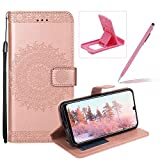 Strap Leather Case for Huawei Mate 20 Lite,Flip Wallet Cover for Huawei Mate 20 Lite,Herzzer Elegant Classic Solid Color Rose Gold Mandala Flower Printed Magnetic Purse Folio Stand Cover with Soft TPU
