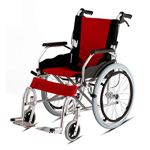 (Belltower Aluminum Alloy Folding Wheelchair,with Flip-Back Desk Arms and Handle Brake Lightweight Transport Chair,Back Storage Bag and seat Belt Seat 18-inch seat)
