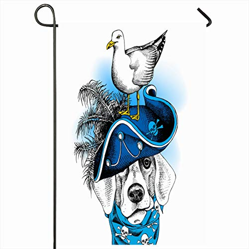 Ahawoso Outdoor Garden Flag 12x18 Inches Neckerchief Crossbones Bulldog Wearing Blue Pirate Hat Gull Skeleton Skull Beak Bird Bone Design Dog Two Sides Seasonal Home Decor House Yard Sign Banner