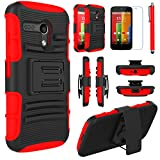Moto G (1st Gen.) Case, EC™ Hybrid Kickstand Shock Absorbing Case, High Impact Dual Layer Holster Case with Locking Belt Swivel Clip for Motorola Moto G (1st Generation Only) (Black/Red)