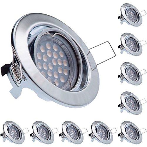 10er LED Einbaustrahler Set Set Set Chrom mit LED GU10 Markenstrahler von LEDANDO - 5W DIMMBAR - schwenkbar - warmweiss - 60° Abstrahlwinkel - A+ - 50W Ersatz - LED Einbauleuchte 5 Watt 1fcebd