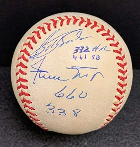 300 Hr/Sb Autographed Signed Nl Baseball Willie Mays Bobby & Barry Bonds Andre Dawson JSA - Authentic Memorabilia