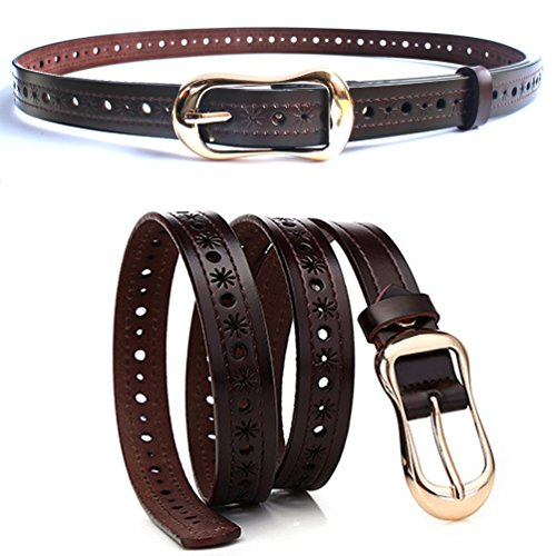 H-Time Women's Belts for Jeans, Hollow Out Leather Belts for Women, Coffee, Up to 34'' Waist(110cm belt) by H-Time (Image #3)