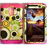 Cellphone Trendz (TM) Hybrid Rocker High Impact Bumper Case Green Polka Dots / Pink silicone for Samsung S2 Galaxy Epic 4G Touch D710 R760 for Sprint/boost Mobile/virgin MOBILE/US Cellular