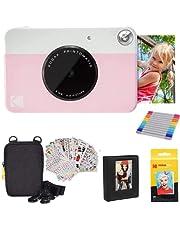 KODAK Printomatic Instant Camera (roze) geschenkbundel + Zink Papier (20 vellen) + Deluxe Case + 7 leuke stickersets + Twin Tip Markers + fotoalbum + hangende lijsten.