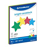 Printworks Bright Cardstock, 65 lb, 4 Assorted Bright Colors, FSC Certified, Perfect for School and Craft Projects, 50 Sheets, 8.5' x 11' (00682)