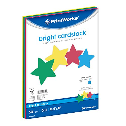 - Printworks Bright Cardstock, 65 lb, 4 Assorted Bright Colors, FSC Certified, Perfect for School and Craft Projects, 50 Sheets, 8.5
