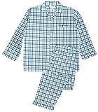 Men's Woven Sleepwear Long Sleeve Pajama Set Cotton Blend - Blue Plaids Medium