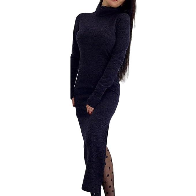Longra Damen Pullover Kleider Sweater Kleid Strickkleider Langarm ...