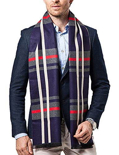 Men Business Cashmere Long Scarf Autumn Winter Warm Plaid Neck Wrap Shawl (Navy Blue Plaid)