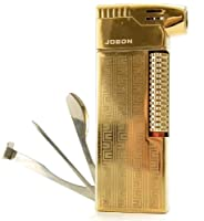 Gold Tobacco Pipe Lighter & Czech Pipe Tool - All In One - 45 Angle Soft Flame