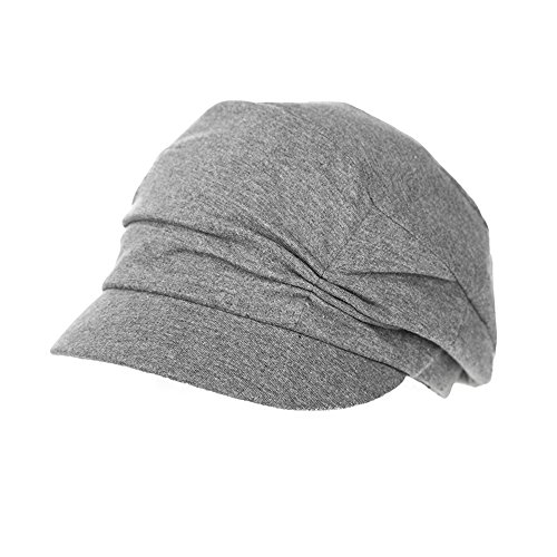 SIGGI Cotton Cloche Newsboy Cabbie Beret Chemo Cap for Women Winter Hats for Cancer Patients Grey (Best Hats For Cancer Patients)
