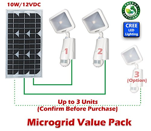 2 pc of Solar Powered Microgrid CREE LED Pure Digital SMART for Dusk to Dawn All-Night Long Lighting or Motion Activated Outdoor Indoor Security Safety CCTV Street Parking Garden Flood Spot lights
