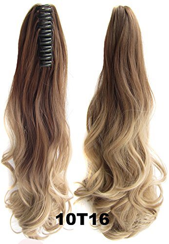 Beauty Wig World 21 inches 55cm 100g Two Tone Long Wavy Curly Woman Claw Clip Ponytail Clip on/in Hair Extensions #10T16 Light Brown/ Light Blonden by Onedor Ponytail (Image #4)