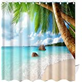 ABxinyoule Beach Scene Shower Curtain Tropical Theme Palm Blue Waterproof Fabric Bathroom Sets