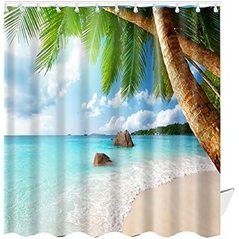 ABxinyoule Beach Scene Shower Curtain Tropical Theme Palm Blue Waterproof Fabric Bathroom Sets