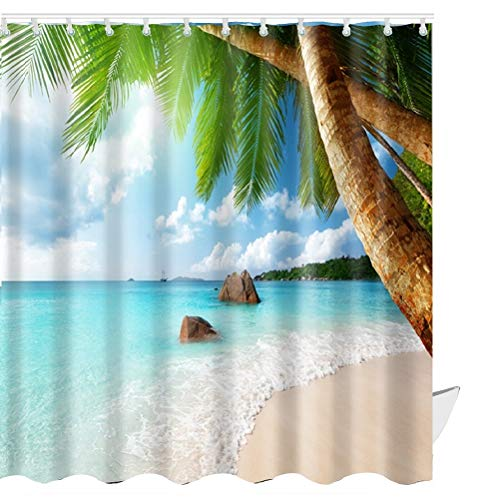 ABxinyoule Beach Scene Shower Curtain Tropical Beach Theme Palm Blue Waterproof Fabric Bathroom Sets -
