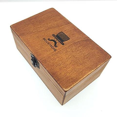 CECII Rectangular Vintage Moustache Face Jewellery / Trinket Box, Olde-Worlde Pattern Wooden Box