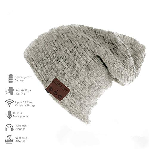 Happy-top Wireless Bluetooth Beanie Hat 4.2 Unisex Winter Warm Knitted Hat Trendy Cap with Stereo Headphone Headset Speaker Mic Hands-free for Sports Workout Best Christmas Gifts (Smlattice Gray)