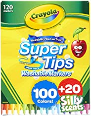 Crayola Super Tips 100ct with 20ct Silly Scents, Amazon Exclusive, 120 Markers, Gift for Kids, Multi
