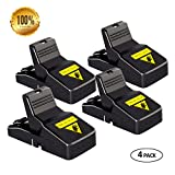 Mouse Trap Snap Quick Kill Mice Rodent Rat Killer Catcher- Effective Sensitive Reusable Durable and Sanitary traps (4 Pack)