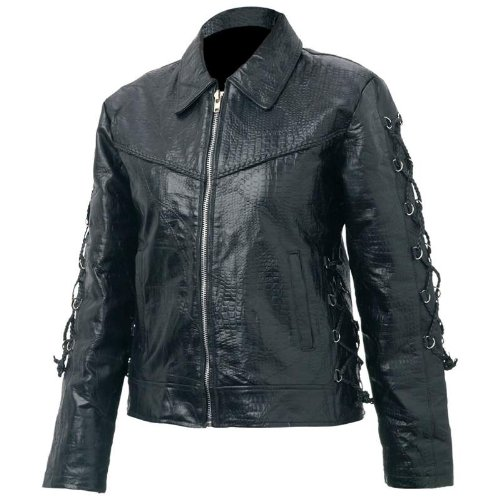 Giovanni Navarre Women's Hand-Sewn Pebble Grain Genuine Buffalo Leather Jacket -X-Large Black (Wmu Lace)
