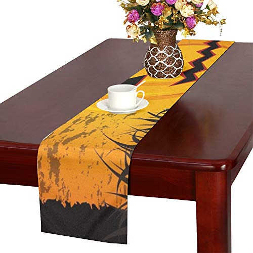 Happy Halloween Card Pumpkin Message Table Runner, Kitchen Dining Table Runner 16 X 72 Inch for Dinner Parties, Events, Decor -