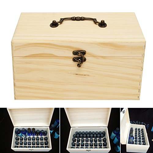 NUEVO 32Grids Botellas de madera caja de almacenaje Contenedor Organizador para aceite esencial aromaterapia