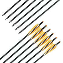 Archery Arrow Hunting Carbon Crossbow Bolts Hunting Carbon Arrow 18 Inch With Replaceable arrow tips 4 Inch Plastic Vanes Pack of 12