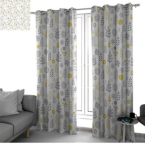 (Modern Living, Dining Room, Bedroom Curtains Nature Wild Forest Leaves Flowers Trees Buds Sketchy Contemporary Art Print Blackout Curtains for Bedroom Grey Mustard White W84 x L96 Inch )