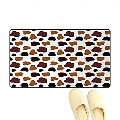 Door Mats,Cow Skin Animal Abstract Spots Milk Dalmatian Barnyard Camouflage Dots,Bath Mat Bathroom Mat with Non Slip,White Brown Black