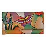 Anuschka Multi-Pocket Wallet BGP, Butterfly Glass Painting, One Size