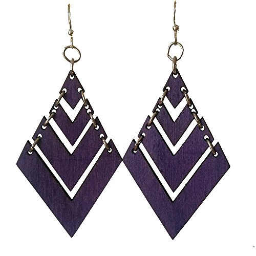 Green Tree Jewelry Fountain Pyramid in Purple laser-cut wood earrings sustainable eco-jewelry (Laser Pyramid)