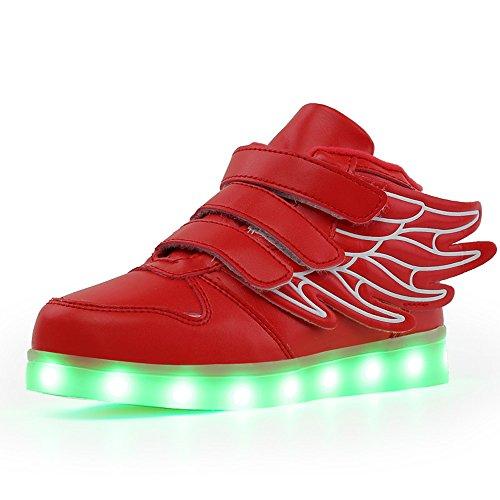 COIN Unisex LED-Licht Skateboard Schuhe mit Flügel-Art, Kinder USB Wiederaufladbar Lichter Blinken Schuhe für Jungen und Mädchen, Weiß/Schwarz/Rot, 25-37 Rot