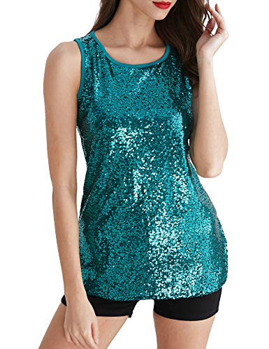 Uhapy Women's Sparkle Shimmer Camisole Vest Glitter Sequin Tank Tops Green, Small]()