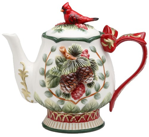 Cosmos Gifts 26-Ounce Evergreen Holiday Cardinal Tea Pot SS-CG-10551