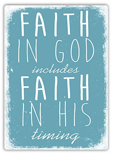 PotteLove Faith in God (Blue) - Metal Wall Sign Plaque Art -Lord Priest Prayer Bible
