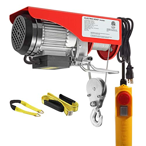Partsam 440 lbs Lift Electric Hoist Crane Remote Control Power System, Zinc-Plated Steel Wire Overhead Crane Garage Ceiling Pulley Winch w/Straps (w/Emergency Stop Switch) from Partsam