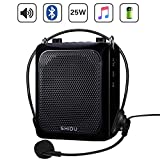 25W Voice Amplifier with Wired Mic Headset, 4000mAh Rechargeable Personal Amplifier Mini Pa System Loudspeaker Amplification Device Sound Amp Karaoke Recording System Support MP3/TF/USB/AUX