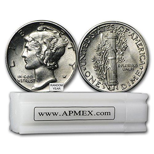 1916-1945 90% Silver Mercury Dime 50-Coin Roll BU (Random Years) Dime Brilliant Uncirculated