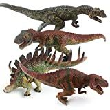 """EAHUMM 8"""" to 11"""" Kids Material Vivid Realistic Toy Jurassic Dinosaur Figures Toddler Educational Dino Play Set Party Favors Pack of 4"""