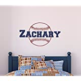 Custom Name Baseball Wall Decal - Boys Personalized Name Baseball Sports Wall Sticker - Custom Name Sign - Custom Name Stencil Monogram - Boys Room Wall Decor
