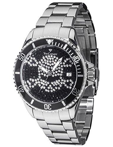 Yves Camani Anwen Skull Ladies Watch Silver Stainless Steel Black Dial Date YC1065-I